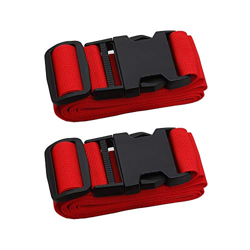 Adjustable Travel Luggage Strap, Nylon Suitcase Luggage Belt Tage Set to Keep Your Luggage Organized and Secure, 43'-78' Adjustable (2Red)
