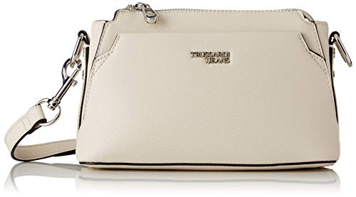Trussardi Jeans Berry Cacciatora, Borsa a tracolla Donna, Bianco (Off/White), 31x22x14 cm (W x H x L)