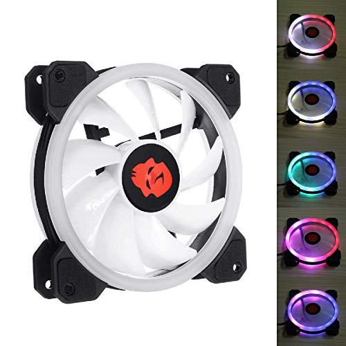 Zjcpow Computadora CPU Cooler Fan 1 unids 120mm ajustable RGB LED luz ordenador PC caso ventilador PC