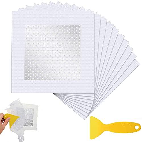gotyou 10 Piezas Parche de Pantalla Autoadhesivo, Parche de reparación de pared de aluminio con raspador, Parches de reparación de paneles de yeso autoadhesivos para Paneles de Yeso, 10 * 10 cm
