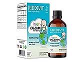 Kiddivit Baby Calcium Liquid Drops with Vitamin D3 & K2-24 Daily Servings, 4 Fl Oz (120 mL) - Inulin Fortified (Prebiotic, Dietary Fiber) - Sugar Free, Gluten Free, Vegetarian Friendly