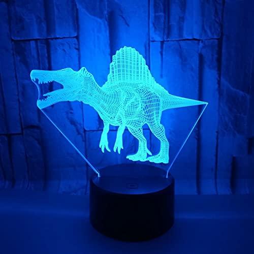 Yyhmkb Palo Mesa Bebe Campaña Lampara Infantil Estrellas Teclados Lampara Dinosaurio Spinosaurus 3D Light Colorful Touch Gift 3D Lámpara De Mesa Pequeña