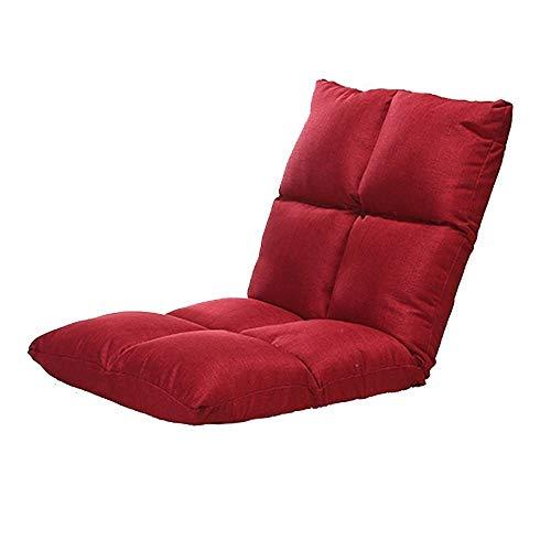 WALNUT Silla de Piso Acolchada con Respaldo Ajustable Cómodo, Semi Plegable y versátil for seminarios Lectura de TV o Juegos Diseño Elegante (Color : Red)