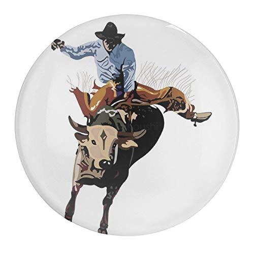 Glass Magnetic Refrigerator Magnet Fridge Sticker, Ea Haw Cowboy Bucking Bull Western Sports American Graphic Glass Fridge Decoration for Dishwasher Office Whiteboards Cute Locker Magnet, 1 PCS