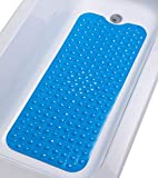 "TIKE SMART Extra-Long Non-Slip Bathtub Mat 39""x16"" (for Smooth/Non-Textured Tubs Only) Safe, Clean, Anti-Bacterial, Machine-Washable, Superior Grip&Drainage, Vinyl Bath Mat, Transparent Light Blue …"