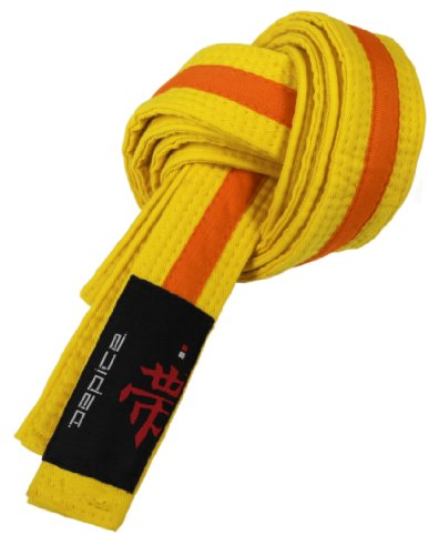 DEPICE Gürtel Karategürtel Judogürtel - Expositor de Cinturones de Artes Marciales, Color Amarillo/Naranja, Talla 260 cm