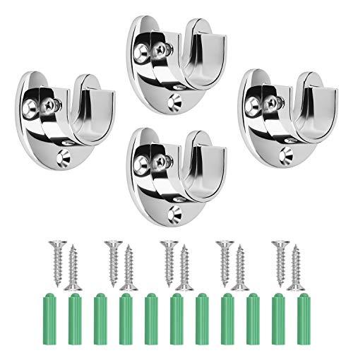 DEXIDUO 4 Stück Vorhangstangenhalterung, Vorhanghalterung dient zur Befestigung der Stange, Vorhanghalterungen Edelstahl