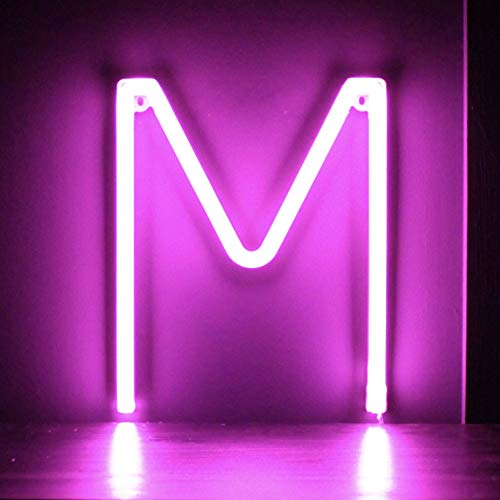 Smiling Faces UK Neon LED Pink Buchstaben Licht Zeichen - Wandbehang batteriebetrieben - Brief M
