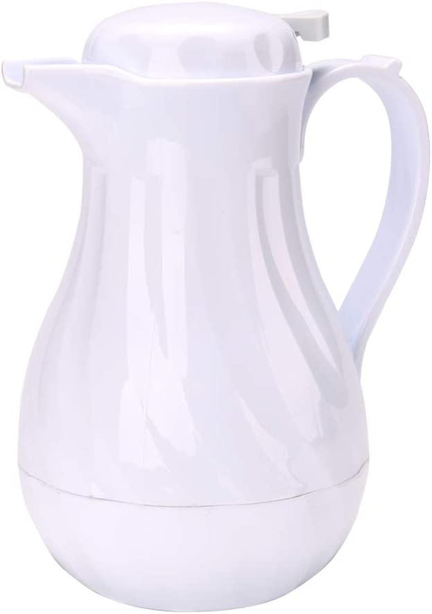 Restpresso 64 Ounce Coffee Carafe, 1 Insulated Coffee Server - Push-Button Top, Leak-Resistant, White Plastic Coffee Pitcher, Built-In Handle, Leak-Resistant - Restaurantware