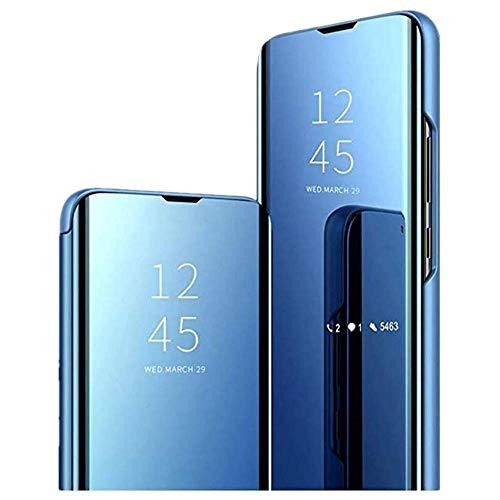 Aloug Handyhülle für Samsung Galaxy A71 Hülle, Premium Mirror Flip Schutzhülle für Samsung Galaxy A71 Tasche (Blau)