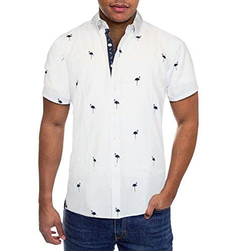 Mens Slim Fit Short Sleeve Button Down Polo Oxford Shirt MST46568 FLA White M