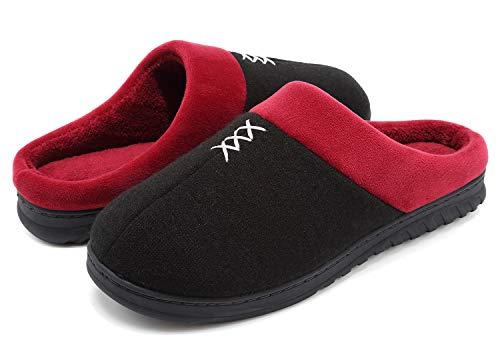 VIFUUR Hombre Zapatillas de casa Espuma de Memoria de Alta Densidad Cálido Interior Lana al Aire Libre Forro de Felpa Suela Antideslizante Zapatos Gris Oscuro 46/47