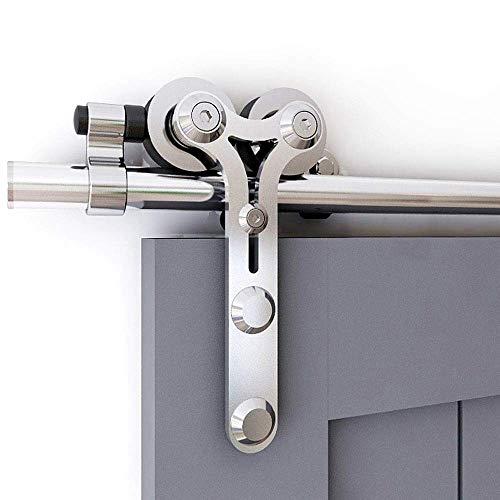 CCJH 200 cm/6,6 ft Kit di guide per porta scorrevole in acciaio inossidabile, binario per sospensione della porta di grange Y-Form