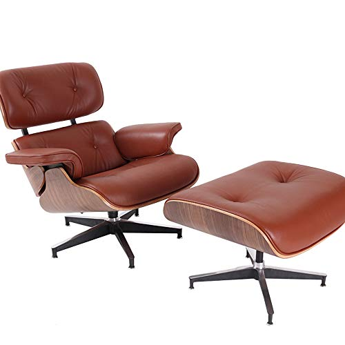 Recliner Chair with Ottoman, Leather Soft Swivel Lounge Chair with Stable Aluminum Base, Contemporary Ergonomic Lounge Armchair with Footrest for Living Room, Bedroom, Office Furniture