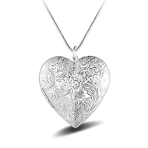 AmDxD Bilder Medaillon zum öffnen mit Kette Herz Blume Damen Herren Hlaksette mit Anhänger Silber