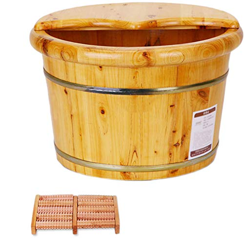 Best Bargain Solid Wood Foot Bath Barrel Home Massage Foam Foot Barrel Footbath Adult Small Tub Wome...