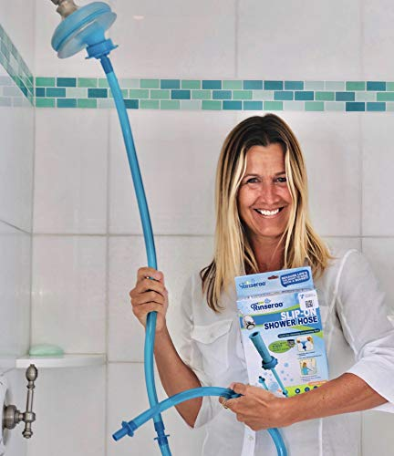 Rinseroo: Slip-on, No Installation, Handheld Showerhead Attachment Hose for Shower and Sink. Detachable Shower Head Sprayer. 5 Foot Hose, Fits Most Faucets (Not for use on Tub Spouts)