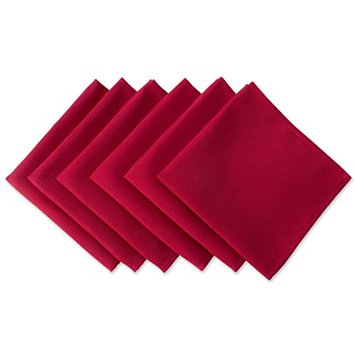 DII Wrinkle Resistant 20x20 Polyester Napkin, Pack of 6, Red - Perfect for Brunch, Catering Events, Thanksgiving, Dinner Parties, Christmas and Everyday Use