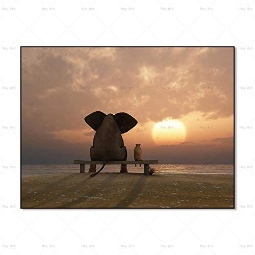 Hechuyue Arte de la Pared Animal Carteles e Impresiones Elefante sin Marco Lienzo Pintura Sala de Estar Pintura Decorativa
