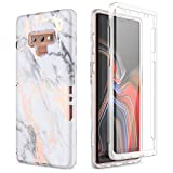 SURITCH for Samsung Galaxy Note 9 Marble Case, [Built-in Screen Protector] Natural Marble Full-Body Protection Shockproof Rugged Bumper Protective Cover for Galaxy Note 9 6.4 Inch (Gold Marble)