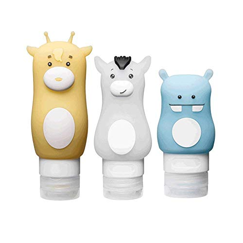 Aranticy 3 Stück Reise Flaschen Set für Toilettenartikel Silikon Ausflaufsichere Reiseflasche Behälter mit Kulturbeutel für Accesoires/Shampoo/Spülung/Creme FDA/TSA Dichtigkeits Zertifizierung