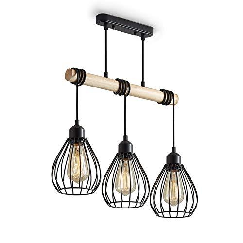 ENCOFT Iluminación Colgante Industrial con 3 Luz E27 Base, Vintage Lámpara Colgante en Metal y Madera, Jaula Lámpara de Araña Longitud Ajustable para Comedor Dormitorio, Negro Sin Bombilla 42cm