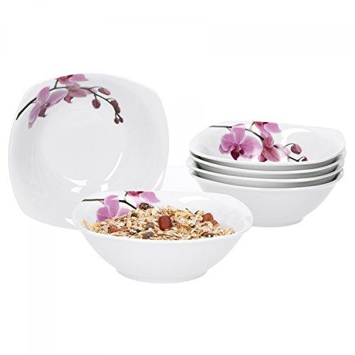 Van Well 6er Set Müslischale Kyoto, 250 ml, 140 x 140 mm, Salatschale, Suppenschüssel, Servierschale, Porzellan-Geschirr, Blumen-Dekor Orchidee, pink, Gastro