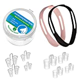 Snore Stopper,Snoring Solution,Anti Snoring Devices,Set of 8 Nasal Dilators with 1 Chin Strap for Micro cpap Users,2 Choices for Deep Sleep at Night for Men and Women