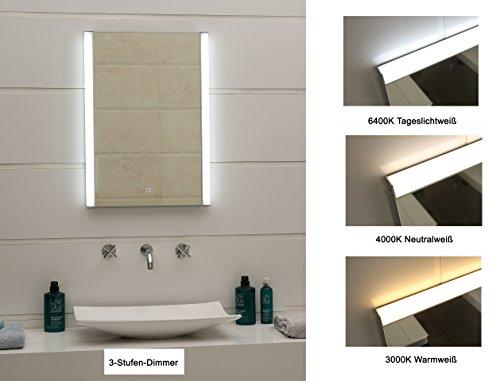 Dr. Fleischmann Design Miroir de Salle de Bains Miroir Lumineux d'éclairage LED 3 étages variateur Ultra léger avec des interrupteurs Contact Gs100T Blanc lumière du Jour Blanc Chaud Blanc Neutre ()