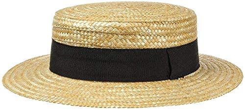 fiebig Kreissäge Strohhut Beige Damen & Herren | Sonnenhut aus 100% Weizenstroh | Boater Made in Italy | Gondoliere-Hut für Frühjahr & Sommer | Hut mit Ripsband (57)