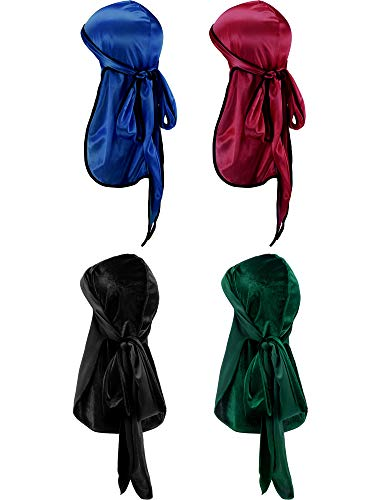 Tatuo 2 Pieces Velvet Durag and 2 Pieces Silky Soft Durag Cap Headwraps with Long Tail and Wide Straps for 360 Waves(Navy Blue, Wine-Red, Black, Green)