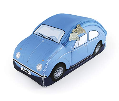 BRISA VW Collection - Volkswagen Beetle Car Bug 3D Neoprene Universal Bag - Makeup, Travel, Cosmetic Bag (Neoprene/Light Blue)