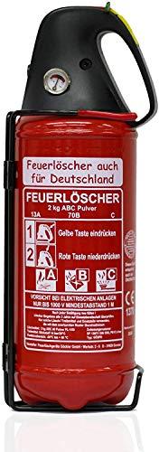 Brandengel Premium Autofeuerlöscher 2kg Pulverlöscher Feuerlöscher, LKW PKW Motorrad KFZ DIN EN 3 Manometer Halterung ABC 4LE (Ohne Prüfnachweis u. Jahresmarke)