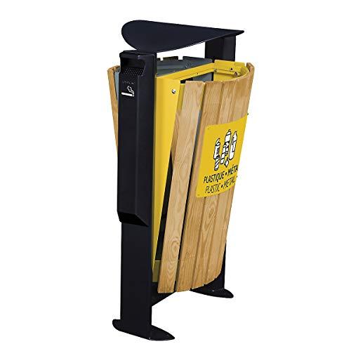 ROSSIGNOL arkea Poubelle 2 x 60l en bois avec cendrier 3L Disponible en 3 couleurs gris/jaune