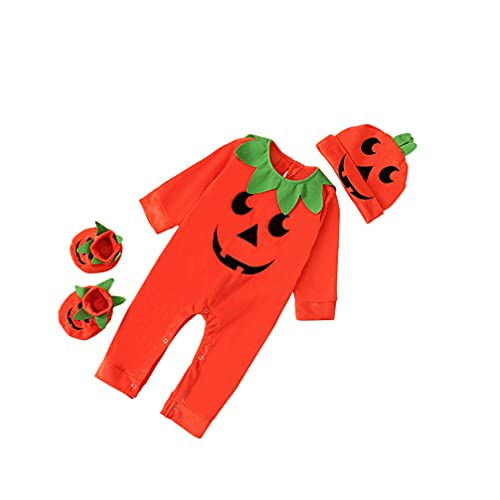 Toddmomy Conjunto de Traje de Halloween para Bebés Y Niñas Conjunto de Disfraz de Calabaza para Bebés con Sombrero Y Calcetines Conjunto de Mameluco de Manga Larga para Niños