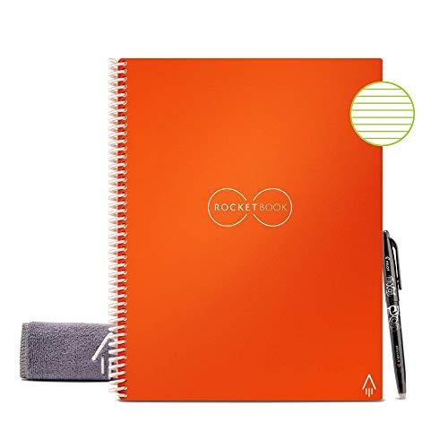 Rocketbook Quaderno Smart – Cancellabile, Riutilizzabile – Compatibile con Sistemi Cloud – Taccuino Digitale - Penna Pilot Frixion e Panno Inclusi (Beacon Arancione, Letter A5, Foderato)