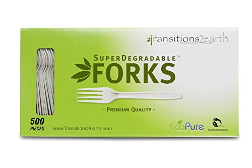 Transitions2earth Biodegradable EcoPure Forks - Box of 500 - Plant a Tree with Each Item Purchased!