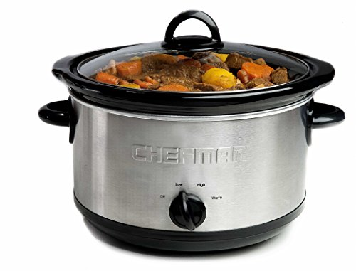 Chefman with 3 Manual Heat Settings, Removable Crock Insert Dishwasher Safe Stoneware & Lid, Large Family Size Ideal for 6+ People Fits 6 lb Roast, Stainless Steel