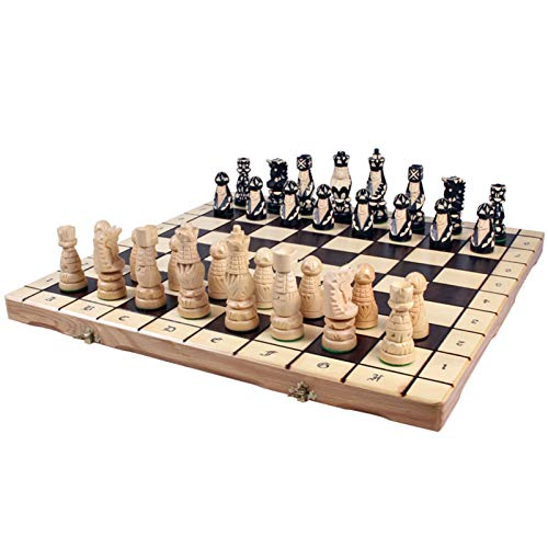 TYJKL Conjunto de ajedrez Doblado Mano Hecho a Mano Ajedrez de Madera Juego de ajedrez Placa de ajedrez Madera sólida Gran Ajedrez Plegable portátil Adecuado para Jugar en casa