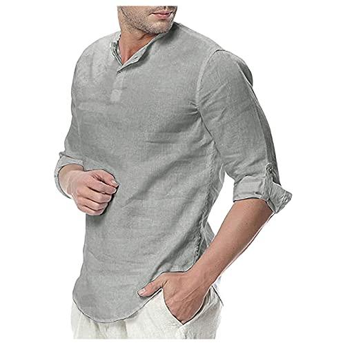 BOOMJIU Lange Ärmel Männer - Sommer Lässig Mode Leinen T-Shirt Herren Retro Stehkragen Sexy V-Ausschnitt Baumwolle Und Leinen Hemd Einfarbig Atmungsaktive Einfache Business-Party