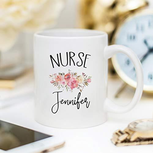 Ol322ay Verpleegstermok met naam gepersonaliseerde verpleegstergeschenk-verpleegster-koffiekopje bloemenkoffiekopje