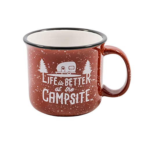 Camco Life is Better at The Campsite Ceramic Coffee Mug - Great for Use While Camping and Outdoors. Microwave and Dishwasher Safe Speckled Red, 12 oz. (53235)