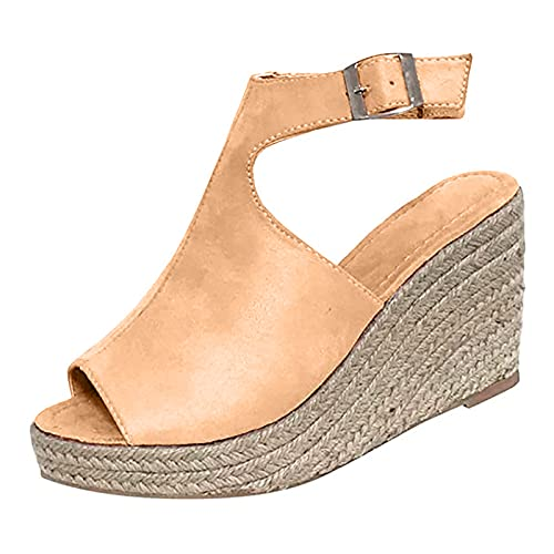 Bravetoshop Women's Platform Sandals Wedge Ankle Strap Slingback Open Toe Sandals Casual Beach High Heel Dress Shoes (Khaki,8 US)