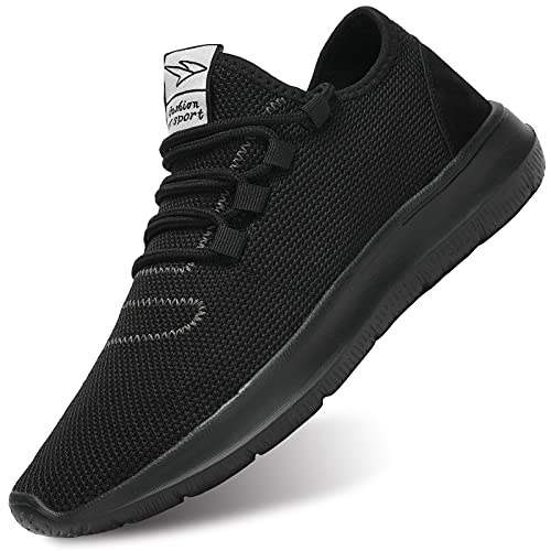 KEEZMZ Men's Running Shoes Fashion Breathable Sneakers Mesh Soft Sole Casual Athletic Lightweight All Black-46