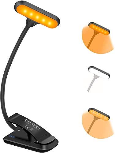 OUSFOT Luz de Lectura Luz de Libro con Pinza Recargable 9 LED con 3 Modos 360° Flexible Lampara de Lectura para Lectores Noche Se usa en Libro PC y Tablet