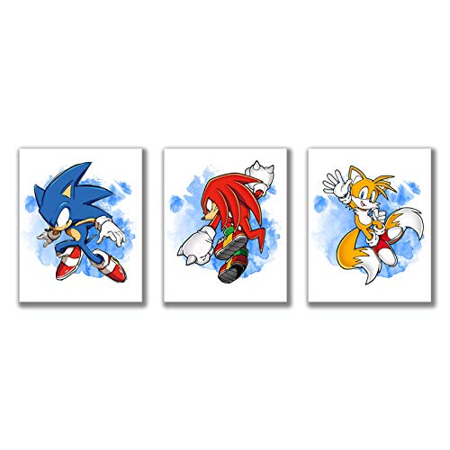 """Cartoons Watercolor Graffiti Splash Sonic The Hedgehog Art Prints Set of 3 (8""""X10""""Canvas Picture) Nursery Wall Art Painting Poster Kids Brothers Boys Birthday Gift Game Room Decor Unframed"""