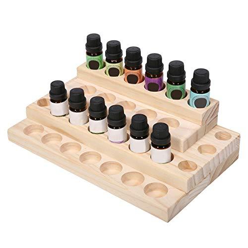 KAIXIN Rack de Almacenamiento de aceites Esenciales, Soporte de exhibición de Aceite Esencial de Madera 30 Ranuras Organizador de aceites Esenciales para Botellas de aromaterapia Esmalte de uñas