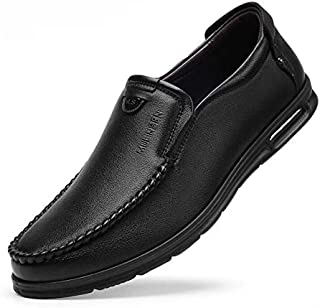 FYdgcgf Men's Business Casual Leather Shoes Slip-on Round-Toe Soft Bottom Shoes