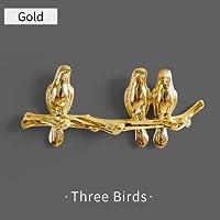 HYBJP 壁の装飾樹脂の鳥の移植壁のフックの子供の飾りキーズホルダーラックホームコート服タオルハットハンドバッグホルダーバッグハンガー (Color : Gold 3birds, Size : フリー)