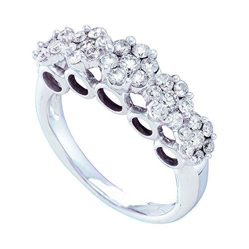 Anillo de oro blanco de 14 quilates con diamantes redondos y múltiples flores de racimo 1-1/2 Cttw para mujeres